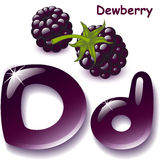 Letter D. Alphabet. English capital and uppercase letter D, stylized color of dewberry juice. dewberry berry. vector illustration Stock Photos