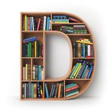 Letter D. Alphabet in the form of shelves with books isolated on Stock Images