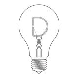 The letter D, in the alphabet Incandescent light bulb set. Outline style black and white color isolated on white background Royalty Free Stock Photography