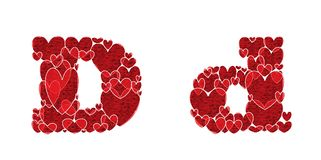 Letter D of alphabet made from hearts. Letter D, uppercase and lowercase of alphabet made from hearts Stock Photos