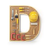 Letter D. Alphabet from the tools on the metal pegboard isolated Royalty Free Stock Images