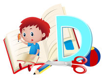 Letter D and boy writing. Illustration Royalty Free Stock Image
