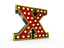 Letter X 3D Broadway Style. High quality 3D illustration of the letter X in Broadway style with light bulbs illuminating it over white background vector illustration