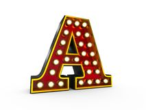 Letter A 3D Broadway Style. High quality 3D illustration of the letter A in Broadway style with light bulbs illuminating it over white background vector illustration