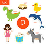 Letter D. Cartoon alphabet for children. Duck, drum, dolphin, do. Letter D. Cartoon alphabet for children. Vector illustration Royalty Free Stock Photos
