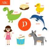 Letter D. Cartoon Alphabet For Children. Duck, Drum, Dolphin, Do Royalty Free Stock Photos