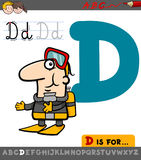 Letter d with cartoon diver Stock Images