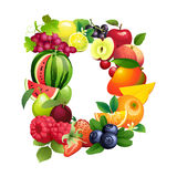 Letter D composed of different fruits with leaves Stock Image
