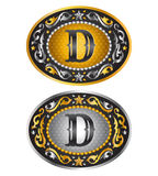 Letter D - Cowboy belt buckle stock illustration