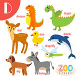 Letter D. Cute animals. Funny cartoon animals in vector.. ABC book. Vector illustration Stock Photos