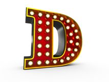 Letter D 3D Broadway Style. High quality 3D illustration of the letter D in Broadway style with light bulbs illuminating it over white background vector illustration