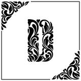 The letter D. Decorative Font with swirls and floral elements. Vintage style.  Stock Photo