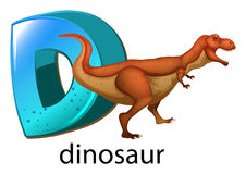 A letter D for dinosaur. Illustration of a letter D for dinosaur on a white background Stock Image
