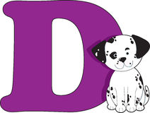Letter D with a Dog. The Letter D with a dog sitting beside it stock illustration
