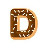 Letter D donut font. Doughnut alphabet. Sweet lettering. candy A Stock Image