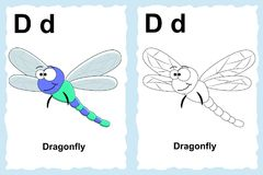 Letter D. Dragonfly. Alphabet coloring book page with outline clip art to color. Letter D. Dragonfly vector illustration