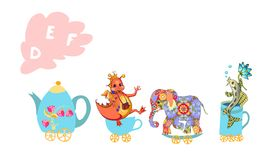 Letter D, E, F. Cute cartoon english alphabet with colorful image. Teapot and cups train. Stock Photos