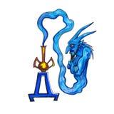 Letter D Fantasy Cyrillic Alphabet - Azbuka with fantasy genie from a bottle Royalty Free Stock Photo