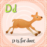 Letter D. Flashcard letter D is for deer royalty free illustration