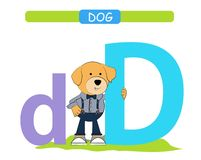 Letter D and funny cartoon dog. Animals alphabet a-z. Cute zoo alphabet in vector for kids learning English vocabulary. Printable. Sheet. Vector royalty free illustration