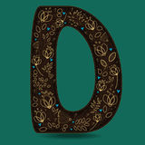 The Letter D with Golden Floral Decor. Dark brown symbol. Yellow flowers and plants with metallic blazing effect. Blue small hearts. Vector Illustration Royalty Free Stock Photography
