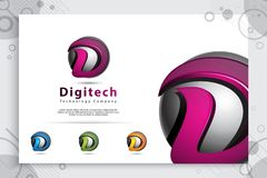 Letter D graphic vector logo with modern 3d design style concept.digital creative illustration of 3d Letter D for business and vector illustration