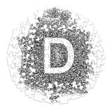 Letter D. Hand made font drawn with graphic pen on white backgro. Und in jigsaw puzzle shape Stock Image