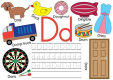 Letter D. Learning English alphabet and writing practice for children. Letter D. Learning English alphabet and writing practice for children Stock Photography