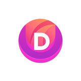 Letter D logo abstract circle shape element. Vector round compan Stock Photography