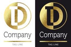 Letter D logo. Golden bright letter D logo vector illustration