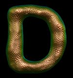 Letter D made of natural gold snake skin texture isolated on black. Letter D made of natural gold snake skin texture isolated on black 3d rendering royalty free illustration