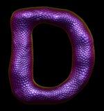Letter D made of natural purple snake skin texture on black. 3d rendering Stock Illustration