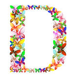 The letter D made up of lots of butterflies of different colors Royalty Free Stock Photos