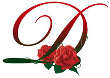 Letter D red floral  illustration. Red rose decorated Letter D font , colorful and Royalty Free Stock Photography