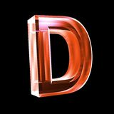 Letter D in red glass 3D Royalty Free Stock Photos