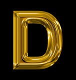 Letter D rounded shiny golden isolated on black. Background Stock Photos