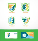 Letter d shield logo icon set Stock Images