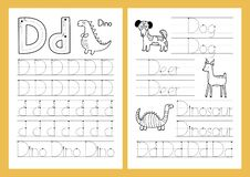 Free Letter D. Tracing Practice Worksheet Set. Learning Alphabet Activity Page Royalty Free Stock Photography - 208038077