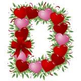 Letter D - Valentine letter. Letter D - with heart, bow, ribbon and leaf vector illustration