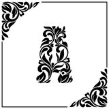 The letter A. Decorative Font with swirls and floral elements. Vintage style.  Stock Photography