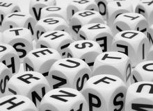 Letter Dice. Black and white letter dice cubes Stock Images
