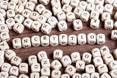 Letter dices word - encryption. Text concept macro: Letter dices forming word encryption stock images