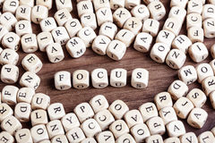 Letter dices word - focus Royalty Free Stock Images