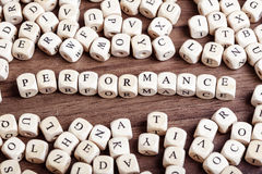 Letter dices word -  performance Stock Image