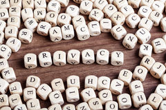 Letter dices word - privacy Stock Images