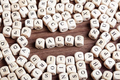 Letter dices word - value Royalty Free Stock Image