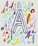 Letter A in different styles. Vector drawing of handwritten letter A in variations of style and color Royalty Free Stock Photo