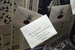 Letter display at Warner Bros studio, London. Display showing a letter addressed to Harry Potter at Warner Bros studio, London Royalty Free Stock Photo