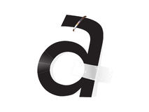 A letter distortion. A ial illustration that shows a letter S attached with staples on a white paper base Stock Photos