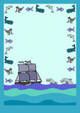 Letter with dolphin. Letter form with cute cartoon sea animals, dolphin vector illustration